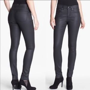 Eileen Fisher faux waxed black vegan leather jeans